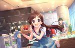 apple blush brown_hair dress idolmaster_cinderella_girls_starlight_stage long_hair red_eyes smile tsujino_akari