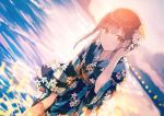 1girl beach floral_print flower hair_flower hair_ornament hiten_(hitenkei) japanese_clothes kimono original skirt skirt_lift solo sunlight sunset wading water
