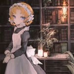 1girl 32_(rt_32_bbk) bangs blue_eyes book bookshelf bottle braid candle desk frame girls_und_panzer lantern maid maid_dress maid_headdress orange_hair plant potted_plant solo tied_hair twin_braids