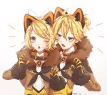 1boy 1girl ;o bangs black_gloves blonde_hair brother_and_sister brown_jacket eyebrows_visible_through_hair facial_mark fur-trimmed_sleeves fur_trim gloves hair_between_eyes hair_ornament hairclip jacket kagamine_len kagamine_rin kagamirror02 one_eye_closed open_clothes open_jacket open_mouth shiny shiny_hair shirt short_hair short_ponytail siblings swept_bangs twitter_username upper_body vocaloid white_shirt