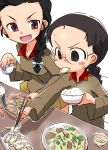 black_hair blush bowl braid chi-hatan_military_uniform chopsticks food food_on_face fukuda_(girls_und_panzer) girls_und_panzer hamahara_yoshio highres long_hair long_sleeves looking_at_another open_mouth plate red_eyes rice simple_background sitting smile sweatdrop tamada_(girls_und_panzer) v-shaped_eyebrows white_background