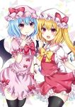 2girls bangs bat_wings black_legwear blonde_hair blue_hair blush bow bowtie clenched_hand commentary_request cowboy_shot crystal dress eyebrows_visible_through_hair fang fang_out flandre_scarlet frilled_shirt_collar frills hair_between_eyes hand_up hat hat_bow highres long_hair looking_at_viewer mob_cap multiple_girls one_side_up open_mouth petticoat pink_dress pink_eyes pink_headwear puffy_short_sleeves puffy_sleeves red_bow red_eyes red_neckwear red_skirt red_vest remilia_scarlet shirt short_dress short_hair short_sleeves siblings sisters skirt skirt_set smile standing subaru_(subachoco) thigh-highs thighs touhou vest white_background white_headwear white_shirt wings wrist_cuffs yellow_bow yellow_neckwear zettai_ryouiki