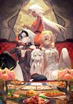 4girls ahoge blonde_hair blue_eyes braid bread breasts brown_eyes champagne_flute commentary_request couch crossed_legs cup curtains cutlery dark_skin drinking_glass fate/apocrypha fate/grand_order fate_(series) flag flower_pot food highres jeanne_d'arc_(alter)_(fate) jeanne_d'arc_(fate) jeanne_d'arc_(fate)_(all) jeanne_d'arc_alter_santa_lily lack lakshmibai_(fate/grand_order) large_breasts long_hair meat menu milk multiple_girls pantyhose plate sitting sleeveless sleeveless_turtleneck smile thigh-highs turtleneck white_hair wine_glass yellow_eyes