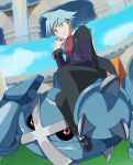 1boy ascot blue_eyes enon long_sleeves looking_at_viewer metagross pokemon pokemon_(creature) pokemon_(game) ring sitting tsuwabuki_daigo white_hair