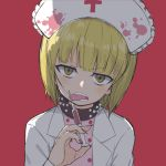 1girl :p alternate_costume bangs black_collar blonde_hair blunt_bangs collar cutlass_(girls_und_panzer) eyebrows_visible_through_hair frown girls_und_panzer half-closed_eyes hat head_tilt highres holding holding_syringe labcoat licking light_blush looking_at_viewer nurse nurse_cap open_mouth pink_shirt polka_dot polka_dot_shirt red_background shirt short_hair solo spiked_collar spikes syringe tongue tongue_out twitter_username upper_body v-shaped_eyebrows white_coat white_headwear yabai_gorilla yellow_eyes