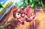 apple blush brown_hair dress idolmaster_cinderella_girls_starlight_stage long_hair red_eyes ribbon smile strapless_dress tsujino_akari wink