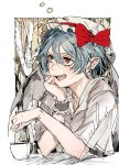 1girl absurdres bangs blue_hair bow collarbone collared_shirt commentary_request cup dress_shirt elbows_on_table fang hair_between_eyes hands_up hat hat_bow highres hiranko looking_away mob_cap open_mouth red_bow red_eyes remilia_scarlet shirt single_wrist_cuff sketch solo sugar_cube touhou tree upper_body white_headwear white_shirt wide_sleeves wrist_cuffs