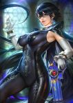 1girl absurdres bayonetta bayonetta_(character) bodysuit breasts glasses gun highres large_breasts nudtawut_thongmai paid_reward patreon_reward weapon