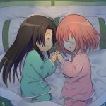 2girls bangs black_hair blush chibi chinese_clothes closed_eyes commentary_request drooling futon ginkamiaki gintama highres holding_hands interlocked_fingers kagura_(gintama) long_hair lying matching_outfit multiple_girls open_mouth orange_hair pajamas pillow short_hair sleeping smile tatami tokugawa_soyo