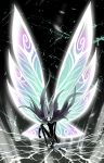1996121012105422 butterfly_wings cloak cracked_floor full_body glowing glowing_wings highres hollow_eyes hollow_knight hollow_knight_(character) kneeling nail solo wind wind_lift wings