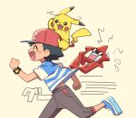 1boy ame_(ame025) ash_ketchum bangs baseball_cap black_hair blue_footwear bracelet brown_pants closed_eyes commentary_request flying_sweatdrops from_side gen_1_pokemon gen_4_pokemon hat jewelry male_focus motion_lines on_head open_mouth pants pikachu pokemon pokemon_(anime) pokemon_(creature) pokemon_on_head pokemon_sm_(anime) red_headwear rotom rotom_dex running shirt shoes short_hair short_sleeves smile striped striped_shirt t-shirt tongue z-ring |d