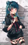 1girl absurdres alternate_hairstyle bangs black_hairband black_sweater blue_hair bracelet braid bubble_tea cowboy_shot drinking drinking_straw eyebrows_visible_through_hair fake_horns floating_hair fuyuzima garter_straps grey_legwear hair_bun hairband hand_in_pocket highres holding jewelry long_hair love_live! love_live!_sunshine!! red_eyes shiny shiny_hair solo standing striped striped_legwear sweater thigh-highs tsushima_yoshiko twin_braids twintails vertical-striped_legwear vertical_stripes zettai_ryouiki