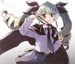1girl anchovy anzio_school_uniform bangs belt cape drill_hair girls_und_panzer green_hair hair_ribbon long_hair looking_at_viewer necktie open_mouth red_eyes ribbon school_uniform simple_background skirt solo twin_drills vri_(tinder_box) white_background