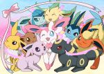 eevee eeveelution enon espeon flareon glaceon glitter jolteon leafeon nintendo no_humans one_eye_closed pokemon pokemon_(creature) pokemon_(game) ribbon sweatdrop sylveon umbreon vaporeon