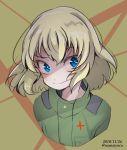 1girl bangs blonde_hair blue_eyes dated fang girls_und_panzer highres jumpsuit katyusha namatyoco short_hair smile solo twitter_username