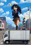 1girl absurdres artist_name bag black_hair black_legwear blazer brown_skirt carlo_montie city english_commentary giantess green_eyes ground_vehicle highres jacket kneehighs long_sleeves motor_vehicle necktie open_mouth original outdoors running school_bag school_uniform skirt sky truck