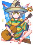 1girl :o alternate_costume artist_name bangs barefoot black_hair commentary eyebrows_visible_through_hat full_body greater_roadrunner_(kemono_friends) green_eyes grey_hair guitar hair_between_eyes hair_through_headwear hat hat_feather highres instrument kemono_friends looking_at_viewer lucky_beast_(kemono_friends) multicolored_hair music musical_note playing_instrument poncho rakugakiraid short_hair shorts simple_background sitting solo sombrero two-tone_swimsuit white_background wristband