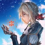 1girl anonamos blonde_hair blue_eyes blue_jacket blue_sky braid brooch clouds crying crying_with_eyes_open english_commentary from_side hair_between_eyes hair_intakes hair_ribbon highres jacket jewelry kyoto_animation mechanical_hand mechanical_hands prosthesis prosthetic_arm prosthetic_hand red_ribbon ribbon sky star_(sky) starry_sky tears violet_evergarden violet_evergarden_(character) white_neckwear