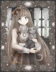 1girl animal bangs blouse blurry bokeh bow cat curtains depth_of_field dress eyebrows_visible_through_hair frame framed_image frilled_blouse frills grey_cat grey_eyes hairband holding holding_animal holding_cat jewelry lace lace-trimmed_dress lace_trim light light_brown_hair light_particles lolita_fashion lolita_hairband long_hair looking_at_viewer necklace nyaaan original plaid plaid_bow plaid_dress ring sheer_clothes signature sleeve_cuffs smile solo solo_focus tassel window windowsill