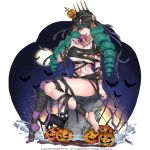 1girl bandages bat black_cat breasts candy cat choker drill_hair fiore_brunelli food full_moon green_hair hair_ornament halloween halloween_costume holding_lollipop jack-o'-lantern jack-o'-lantern_hair_ornament large_breasts lollipop long_hair moon mummy_costume night official_art purple_legwear single_thighhigh sitting solo spider_web_print star_ocean star_ocean_anamnesis star_ocean_integrity_and_faithlessness thigh-highs toenail_polish tombstone yellow_eyes