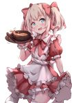 1girl :d apron blush bow bowl collared_dress commentary_request cowboy_shot dress food frilled_apron frilled_dress frills hair_bow hakuya_(white_night) hand_up holding latina_(uchi_no_musume_no_tame_naraba) light_brown_hair maid_apron open_mouth pleated_dress puffy_short_sleeves puffy_sleeves red_bow red_dress short_sleeves simple_background skirt_hold smile solo spoon thigh-highs twintails uchi_no_musume_no_tame_naraba_ore_wa_moshikashitara_maou_mo_taoseru_kamo_shirenai. white_apron white_background white_legwear