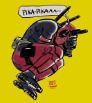 1boy artist_name belt black_footwear black_gloves bodysuit boots cup dam_(okdam3) dated deadpool detective_pikachu detective_pikachu_(series) dual_wielding english_text from_above gloves gun handgun highres holding holding_cup holding_gun holding_weapon long_sleeves lying male_focus marvel on_side pokemon red_bodysuit ryan_reynolds seiyuu_connection signature simple_background solo speech_bubble sword utility_belt weapon yellow_background