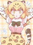 1girl :o animal_ears arms_behind_head bangs belt black_neckwear blonde_hair bow bowtie center_frills commentary_request elbow_gloves eyebrows_visible_through_hair fur_collar gloves high-waist_skirt highres jaguar_(kemono_friends) jaguar_ears jaguar_print jaguar_tail kemono_friends kurachi_mizuki looking_at_viewer outline plaid plaid_background print_gloves print_skirt shirt short_hair short_sleeves signature simple_background skirt solo tail white_outline white_shirt yellow_eyes