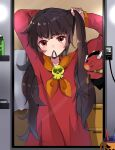 1girl absurdres arms_up ashley_(warioware) brown_eyes cup demon hair_tie_in_mouth herunia_kokuoji highres indoors light_switch long_hair long_sleeves mirror mouth_hold red_shirt shirt skull_brooch towel warioware