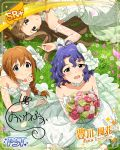 blue_hair blush brown_eyes dress group idolmaster_million_live!_theater_days short_hair smile toyokawa_fuuka wedding