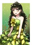 1girl blush brown_hair collarbone dress evening_gown flower getsuyoubi green_dress green_eyes highres hiyajou_maho layered_dress long_hair open_mouth rose shiny shiny_hair sleeveless sleeveless_dress solo standing steins;gate steins;gate_0 sweatdrop very_long_hair wavy_mouth yellow_flower yellow_rose