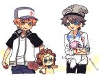 2boys 2girls animal_costume artoria_pendragon_(all) baseball_cap beanie biting blood blue_bow boned_meat bow cable_knit capsule_servant chibi cosplay emiya_shirou fate/grand_order fate/stay_night fate_(series) food fou_(fate/grand_order) fou_(fate/grand_order)_(cosplay) gashapon green_eyes grey_headwear hair_over_one_eye hat jacket kigurumi lavender_hair lion_costume mash_kyrielight meat multiple_boys multiple_girls nabenko open_clothes open_jacket orange_hair raglan_sleeves saber_lion shirt short_sleeves white_shirt