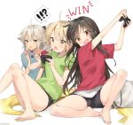 3girls ahoge alternate_costume artist_name bangs barefoot black_hair black_ribbon black_shorts blanket blonde_hair casual chips commentary contemporary controller eating english_commentary english_text fate/grand_order fate_(series) food game_controller grey_eyes hair_ribbon highres ishita_umi long_hair multiple_girls object_hug oda_nobunaga_(fate) okita_souji_(alter)_(fate) okita_souji_(fate) okita_souji_(fate)_(all) open_mouth pillow platinum_blonde_hair playing_games potato_chips red_eyes ribbon shirt short_hair short_shorts shorts signature simple_background sitting stuffed_animal stuffed_shark stuffed_toy sweatdrop t-shirt very_long_hair white_background yellow_eyes