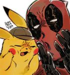 1boy 1other anti-hero artist_name black_gloves blush_stickers bodysuit brown_headwear closed_eyes creatures_(company) dam_(okdam3) dated deadpool deadpool_(movie) deerstalker detective_pikachu detective_pikachu_(movie) detective_pikachu_(series) disney frown game_freak gen_1_pokemon gloves hat highres human making_faces marvel mouse nintendo open_mouth pikachu pokemon pokemon_(creature) red_bodysuit ryan_reynolds seiyuu_connection signature simple_background toho_corp. voice_actor_connection warner_bros white_background