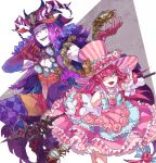 1boy 1girl argyle argyle_legwear aves_plumbum9 blue_eyes blue_lipstick bow bowtie chest commentary_request cuffs dragon_tail dress dress_flower elizabeth_bathory_(fate) elizabeth_bathory_(fate)_(all) facepaint fangs fate/grand_order fate_(series) flower frilled_dress frills fur_trim gloves hand_up hat hat_ornament horns jester leaf leg_up lipstick long_hair looking_at_viewer makeup mephistopheles_(fate/grand_order) multicolored multicolored_eyes one_eye_closed open_clothes open_mouth open_shirt pantyhose pig pink_eyes pink_hair pointy_ears purple_hair rose sarkany_csont_landzsa smile smug squirrel striped striped_dress striped_hat tail time_bomb top_hat v violet_eyes