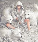 1girl ankle_boots bandaid bone boots gun highres hood hood_up hooded_jacket jacket looking_at_viewer minami_(minami373916) original rifle scope sitting sniper_rifle star star_print trigger_discipline weapon white_eyes white_footwear white_hair white_jacket white_theme white_wolf wolf