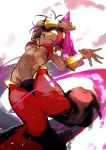 1girl abs abstract_background arm_guards arm_on_head arm_up blue_eyes breasts dancing harem_pants highres navel nishiide_kengorou one_eye_closed open_mouth pants pink_hair ponytail shantae_(character) shantae_(series) solo under_boob