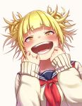 1girl absurdres artist_request bangs blonde_hair blunt_bangs blush boku_no_hero_academia commentary_request double_bun eyebrows_visible_through_hair fangs highres long_sleeves looking_at_viewer messy_hair open_mouth school_uniform serafuku short_hair simple_background smile solo toga_himiko white_background yellow_eyes
