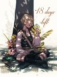 1boy artist_name blonde_hair blush book boots bug butterfly countdown fire_emblem fire_emblem:_three_houses flower glasses grass highres ignatz_victor insect leaf male_focus open_mouth sitting solo teeth tree yellow_eyes