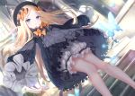 1girl abigail_williams_(fate/grand_order) animal bangs black_bow black_dress black_headwear blonde_hair bloomers blue_eyes blush bow bug butterfly dress dutch_angle eyebrows_visible_through_hair fate/grand_order fate_(series) forehead hair_bow hat indoors insect kachayori long_hair long_sleeves looking_at_viewer orange_bow parted_bangs parted_lips polka_dot polka_dot_bow ribbed_dress sleeves_past_fingers sleeves_past_wrists solo stairs stone_stairs underwear very_long_hair white_bloomers window
