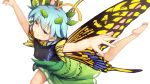 1girl antennae bare_arms barefoot blue_hair breasts brown_eyes butterfly_wings chima_q commentary_request covered_collarbone covered_nipples eternity_larva eyes_visible_through_hair green_skirt half-closed_eyes highres leaf leaf_on_head outstretched_arms short_hair short_sleeves simple_background skirt small_breasts smile solo spread_arms touhou white_background wings