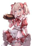 1girl :d apron blush bow bowl collared_dress commentary_request cowboy_shot dress food frilled_apron frilled_dress frills hair_bow hakuya_(white_night) hand_up highres holding latina_(uchi_no_musume_no_tame_naraba) light_brown_hair maid_apron open_mouth pleated_dress puffy_short_sleeves puffy_sleeves red_bow red_dress revision short_sleeves simple_background skirt_hold smile solo spoon thigh-highs twintails uchi_no_musume_no_tame_naraba_ore_wa_moshikashitara_maou_mo_taoseru_kamo_shirenai. white_apron white_background white_legwear