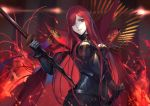 1girl black_bodysuit bodysuit breasts cape commentary_request fate/grand_order fate_(series) fire hair_over_one_eye holding holding_sword holding_weapon long_hair looking_at_viewer maekawa_yuichi medium_breasts oda_nobunaga_(maou_avenger)_(fate) red_cape red_eyes redhead solo sword weapon