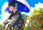 1girl :d black_hair blue_sky blurry blurry_background blush braid clouds cloudy_sky commentary_request crescent crescent_earrings day depth_of_field earrings fence fingernails green_eyes grey_kimono hair_ornament holding holding_umbrella japanese_clothes jewelry kimono long_hair long_sleeves looking_at_viewer miyabi_akino open_mouth original outdoors round_teeth sidelocks sky smile solo teeth tree umbrella upper_teeth white_umbrella wide_sleeves yukata