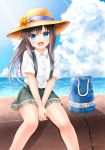 1girl asashio_(kantai_collection) bag bangs black_hair blue_eyes blush buttons clouds comiching day eyebrows_visible_through_hair flower hat hat_flower highres kantai_collection long_hair ocean open_mouth outdoors pleated_skirt shirt short_sleeves sitting skirt sky solo sun_hat suspender_skirt suspenders water white_shirt