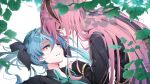 2girls aqua_neckwear black_bow blue_eyes blue_hair blurry blurry_background blurry_foreground bow collared_shirt commentary depth_of_field forehead-to-forehead hair_bow half-closed_eyes hand_on_another's_shoulder hatsune_miku jacket leaf long_hair looking_at_another lying megurine_luka multiple_girls necktie on_back parted_lips pink_hair shadow shirt smile sweat twintails upper_body vocaloid wanaxtuco white_background yuri