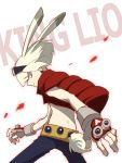 1boy animal_ears blonde_hair c_han25 cosplay fingerless_gloves gloves goggles goggles_on_head green_hair highres king_kazuma king_kazuma_(cosplay) lio_fotia looking_at_viewer male_focus promare rabbit_ears simple_background solo summer_wars vest violet_eyes white_background