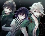 3boys ahoge artist_name brown_eyes brown_hair brown_jacket checkered checkered_scarf collarbone commentary_request danganronpa danganronpa_1 dark_background eyebrows_visible_through_hair green_eyes green_jacket grin hair_between_eyes hood hooded_jacket jacket komaeda_nagito looking_at_viewer male_focus messy_hair multiple_boys naegi_makoto new_danganronpa_v3 open_clothes open_jacket ouma_kokichi purple_hair sakuyu scarf shirt short_hair smile super_danganronpa_2 sweatdrop teeth upper_body violet_eyes white_hair white_jacket white_shirt zipper