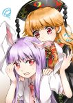 2girls absurdres animal_ears arms_up bangs behind_another biting black_dress blonde_hair commentary_request crescent crescent_moon_pin dress ear_biting eyebrows_visible_through_hair hand_to_forehead hands_on_another's_shoulders hat highres junko_(touhou) kanonari lavender_hair looking_at_another looking_at_viewer mg_mg multiple_girls necktie open_mouth rabbit_ears red_eyes red_neckwear reisen_udongein_inaba shirt short_sleeves sidelocks simple_background squiggle standing sweatdrop tabard touhou upper_body white_background white_shirt