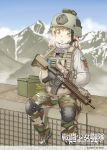 1girl american_flag ammo_box assault_rifle blonde_hair blurry blurry_background breath camouflage candy combat_girls_regiment commentary_request food green_eyes gun hands_in_pockets helmet knee_pads load_bearing_vest lollipop m4_carbine military military_uniform mountainous_horizon original outdoors rifle shino_(r_shughart) sitting solo uniform weapon