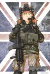 1girl assault_rifle camouflage combat_girls_regiment commentary_request foregrip gloves green_eyes gun handgun helmet korean_text load_bearing_vest looking_at_viewer m4_carbine military military_uniform orange_hair original pistol rifle shino_(r_shughart) smile solo uniform union_jack v weapon
